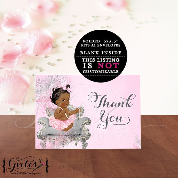 African American baby shower thank you card diamonds pearls, baby girl, silver white pink, INSTANT Download {DARK/JET} 2 Per/Sheet