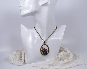 Pendant with embroidery, pendant with hand embroidery, pendant with flower, gift for women,