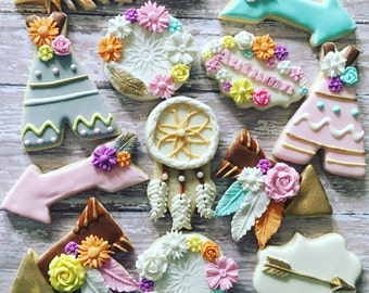 12 dream catcher, whimsical, boho cookies sugar