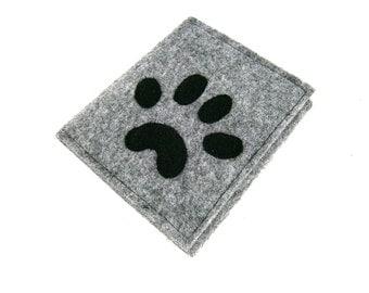 Felt wallet Grey wallet Grey felt wallet Paw dog