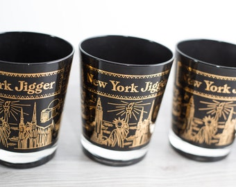 Set of 6 Vintage New York Black and Gold Jigger Glasses / Mid Century NYC Tourist Barware Swag