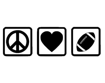 Peace Love Football decal for car, truck, laptop, yeti, tumbler. Football or Holiday Gift.