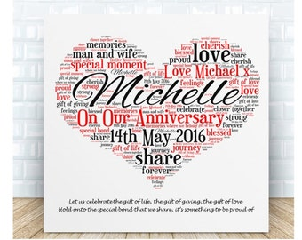 Our Anniversary Word Art Ceramic  Plaque. Personalised Gift