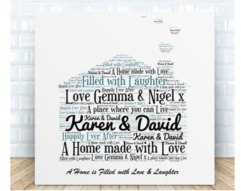 Home Ceramic Word Art Plaque. Personalised Gift
