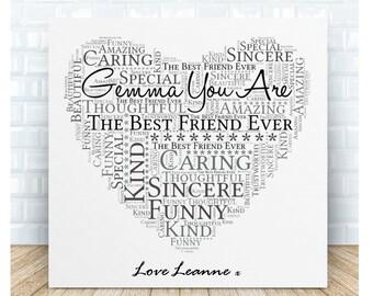 Personalised Friendship Word Art Ceramic Plaque.