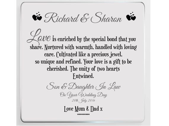Daughter In Law Personalized Poem: Son & Daughter In Law Wedding Day Personalised Glass Plaque