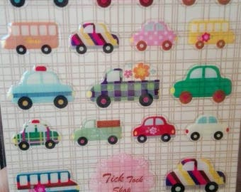 31 Sticker adhesive 3D in the shape of Car Scrapbooking Gift Tags