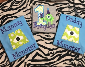Family Monsters Inc. Mike Personanlized Birthday Shirt