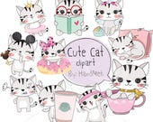 Cute CAT set 1 ,Kawaii cat clipart instant download PNG file - 300 dpi