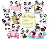 Cute PANDA ,Kawaii Panda clipart instant download PNG file - 300 dpi