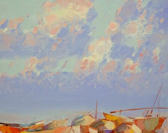 Fishing boats, Seascape Oil painting, Impressionism, handmade art by palette knife, One of a kind