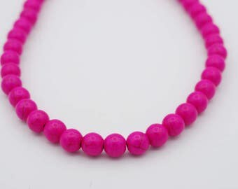 Smooth Round Shape Hot Pink Howlite, available in two sizes