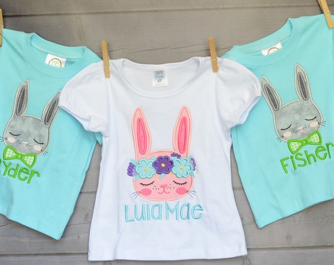 Featured listing image: Personalized Easter Bunny with BowTie Applique Shirt or Onesie Girl or Boy