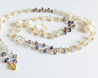 Super long Gemstone necklace, gem necklace,ombre geamstone long  necklace,iolite,aquamarine,moonstone necklace superlong gold filled rosary