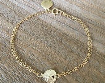 14kt gold filled Sand dollar Bracelet Shell Bracelet Shell Starfish Blue Pearl Beach Jewelry Bridesmaid Bracelets Beach Wedding Shell Gift