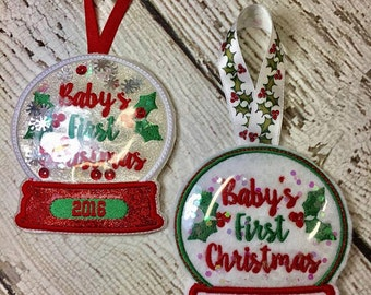 Baby's First Christmas - 2016 - Snow Globe - Ornament -  In The Hoop - DIGITAL Embroidery DESIGN