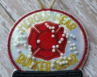 Firefighter - Heroes Wear Bunker Gear - Christmas - Snow Globe - Ornament -  In The Hoop - DIGITAL Embroidery DESIGN