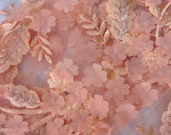 1 Yard Blush Pink 3D Lace Fabric,Rose Pink Sequin Fabric,Spring Lace Dress,Floral Dress Lace,Wedding Bridal Dress,Embroider Flower Lace