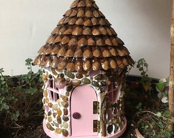 Outdoor Fairy House, Fairy House, Fairy Garden, Pink Cottage