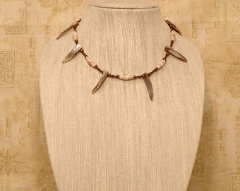 Faux Shark Teeth and Paper Bead Tribal Necklace
