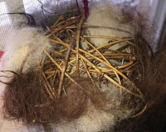 Alpaca Bird Nesting Ball, Nesting Ball Grapevine with Natural Alpaca Llama Fiber, Gift of Nature, Outdoor Decor, Bird lover gift