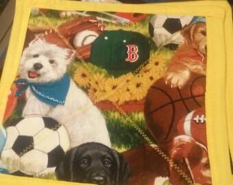 Dog and football potholder