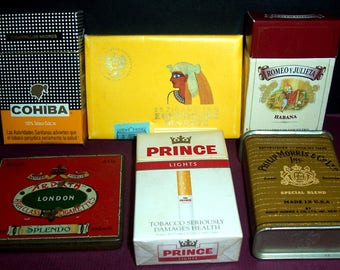 Lot of 12 vintage cigarette & cigar tins/boxes