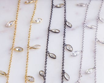 Vermeil CZ Chain by Foot, Bulk Chain By Foot, CZ Marquise Shaker Chains, Tiny CZ Chains, Ideal for Choker Chain and Long Necklace,SCNF133
