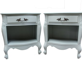 Pair of Country French 'Serenity Blue' Chalk Painted Nightstands/Side Tables