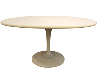 Mid Century Modern Dining Table Danish Modern Chromcraft Saarinen Style  Oval Shaped White