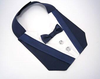 Dog Tuxedo Navy Deluxe Wedding Bandana by Sew It Themes