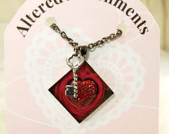 Red Heart Necklace, Free Shipping