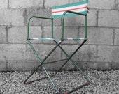 Industrial Folding Green Metal Chair Canvas Seat