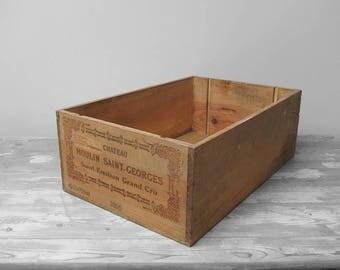 Wine Crate Pine Box Rustic Storage Display French