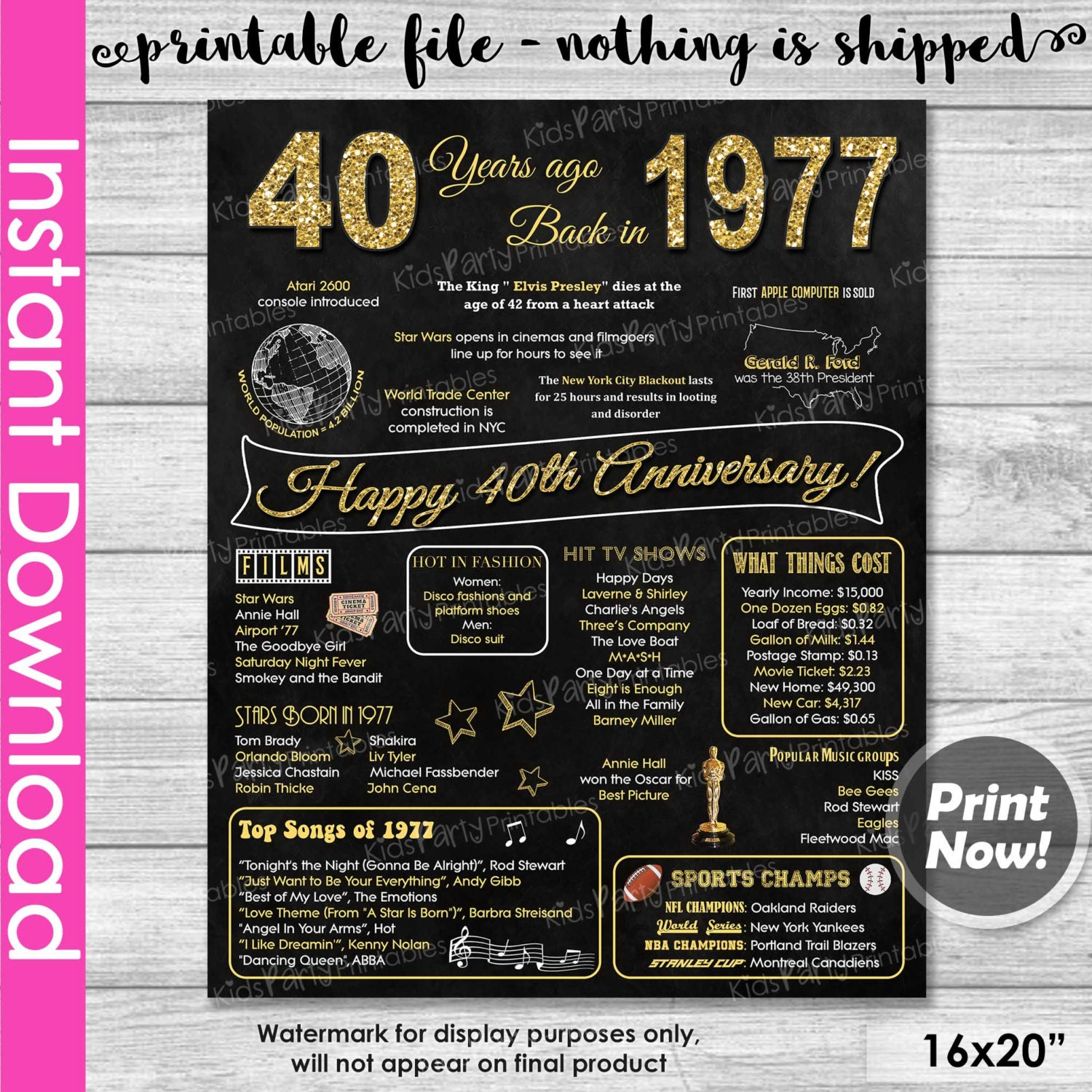 What Gift For 40th Wedding Anniversary: 40th Anniversary Gift INSTANT DOWNLOAD 40th By