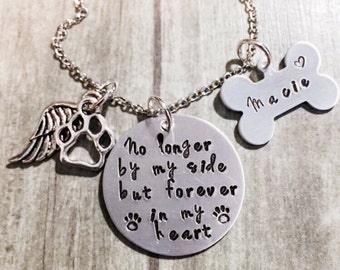 Pet Memorial, Pet Memorial Jewelry, Dog Memorial, Personalized Pet, Pet Loss Gift, No Longer By My Side, Angel Wing, Pet Remembrance