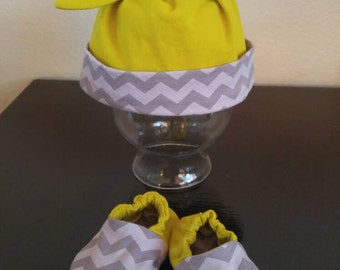 Welcome Home Newborn Set - 2pc - Grey Chevron and Lime