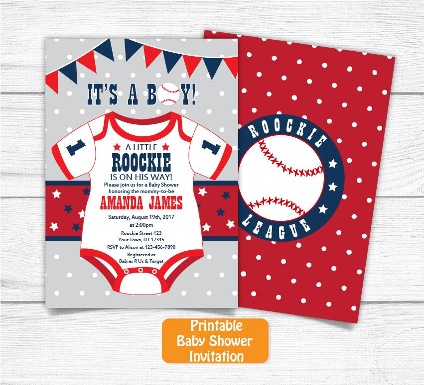 Printable Baseball Navy Blue Red Grey Baby Shower Invitation ...