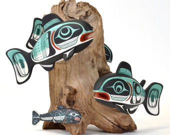 """School of Salmon with Smolt Sculpture on Driftwood 12"""" x 12"""""""