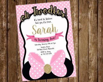 Minnie Mouse Birthday Party Invitation, Pink and Gold, TWO, second Birthday - Printable or Printed