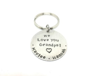 We Love You Grandpa Personalized Hand Stamped keychain-dad-grandma-aunt-uncle-godmother-godfather-top Father's Day  gift