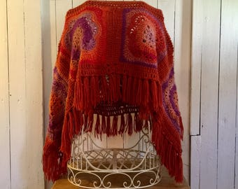 Hippie Poncho, Unique Handmade Burnt Orange Purple Boho Crochet Poncho, Festival Clothes, Psy clothing Lagenlook