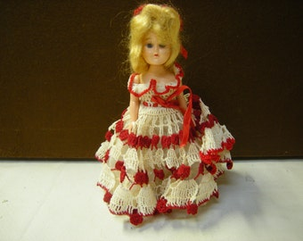 vintage doll-collection doll-crocheted dress-shelf decor-collection-retro-