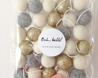 Christmas felt ball garland - glitter gold, grey and ivory