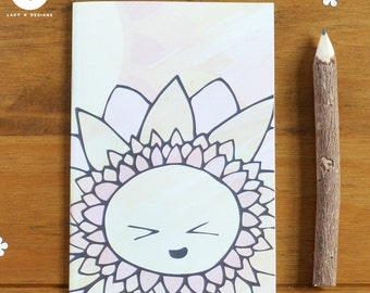 Happy Flowers (Sunny) A6 Notebook, Notepad. Stationary. Drawing. Writing. Journal. Stocking Filler. Secret Santa. Birthday Present