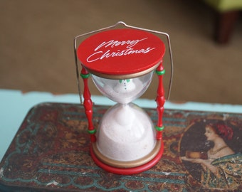 1987 Hallmark Holiday Hourglass Ornament- Snowmen-Merry Christmas-Happy New Year