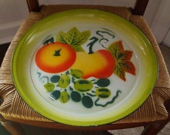 "Vintage Large Enamelware Decorative Fruit Pattern Round Platter 15.5"""