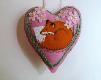 Fox Ornament, Felt Fox, Felt Heart Ornament, Doorknob Hanger, Doorknob Pillow, Woodland Animal, Spring Decor, Fox Kit, Flower Decoration