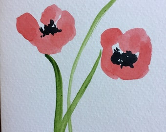 Poppies Watercolor Card
