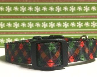 """5/8"""" christmas plaid collar"""